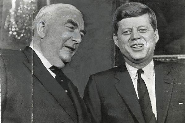 Prime Minister Robert Menzies and President Kennedy pose in the Red Room of the White House in February 1961.